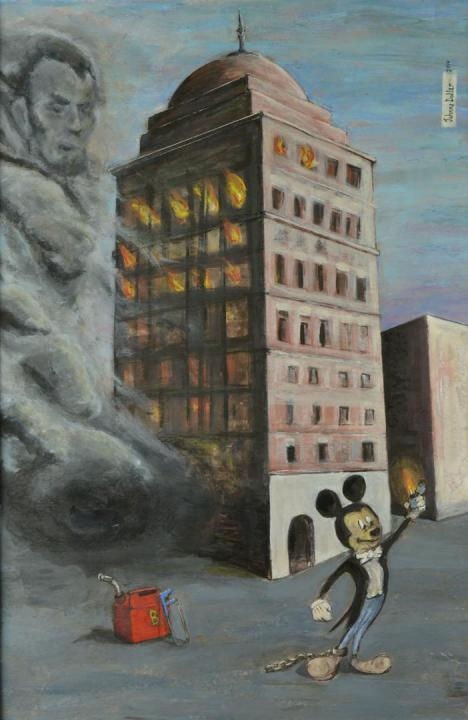 Bank of Babel painting by artist Johnny Dollar www.johnnydollar.biz