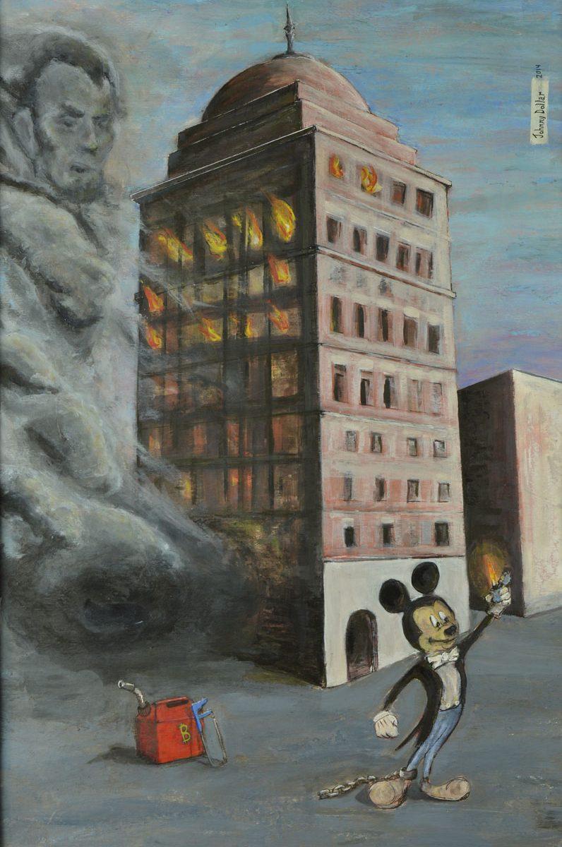 Bank of Babel painting by artist Johnny Dollar www.johnnydollar.biz