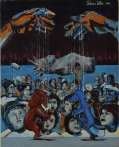 Puppet Show painting by artist Johnny Dollar