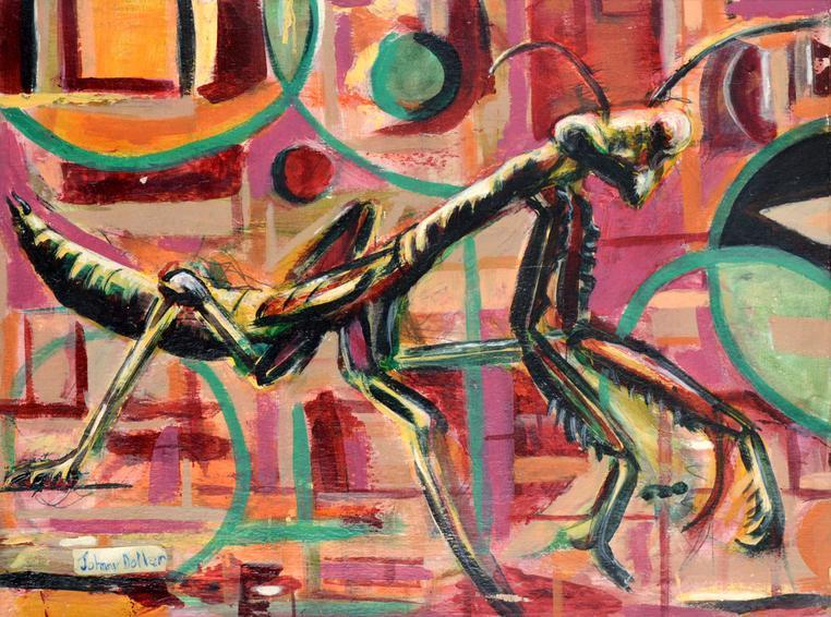 Mantis, painting by Johnny Dollar