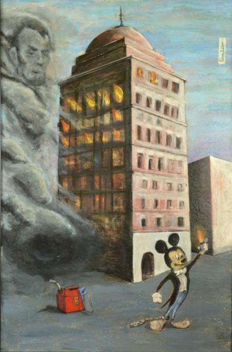Bank of Babel painting by artist Johnny Dollar